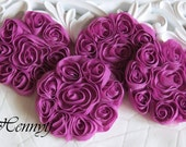 New: Set of 4 Shabby Chic Unique Polyester Chiffon NOT Frayed Rose Flower Applique 3 inch size - Deep Fuchsia