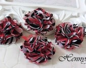 4 pcs - New Tiny Size Petite Satin and Tulle Puff Mesh Flowers without hair clip wedding bridal bridesmaid brooch flowers - Red Zebra