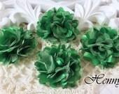 4 pcs - New Tiny Size Petite Satin and Tulle Puff Mesh Flowers without hair clip wedding bridal bridesmaid brooch flowers - EMERALD GREEN