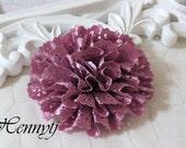 Maureen Collections - 2 pcs Magenta Satin Eyelet Fabric Rosette Puff Flower Applique Brooch headband