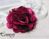 2 pcs- 3'' Satin mesh silk flowers flat back wedding bridal bridesmaid brooch flowers - Hot Pink with black tulle