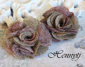 New to the shop: Tattered Treasures Dominique vintage style two tones color flax fabric flowers - Coffee and dust burgundy