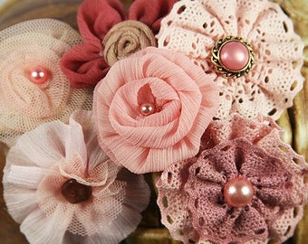 Prima Fabric Flowers: Madrigal Blossom Maestro Pink Mauve Silk / Chiffon / Tulle / Cotton Lace Fabric Flowers with Pearl center (6 pcs)