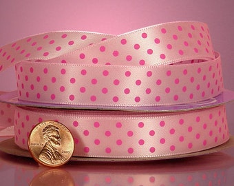 "5 yards of single-sided Pink/Hot Pink polka dots satin ribbon 5/8"" inch"