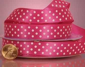 5 yards of single-sided Shocking Pink/White polka dots satin ribbon 5/8 inch