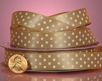 5 yards of single-sided Tan/White polka dots satin ribbon 5/8 inch