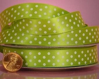 5 yards of single-sided Lime/White polka dots satin ribbon 5/8 inch