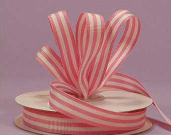 4 yards of Pink Striped Grosgrain Fabric Ribbons 5/8 inch