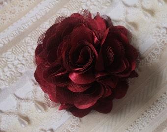 2 pcs - 3'' Satin mesh silk flowers without hair clip wedding bridal bridesmaid brooch flowers - Burgundy