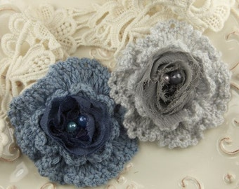 The Knittie Collections - Corn Grey and Navy blue Flower Crochet Flowers