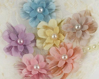 Prima Flowers: 3 SETS of Gwendolyn's- Bluebird Fabric Flower with Feather and Pearl Center (6 pcs per set)