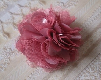 2pcs - 3'' inch VINTAGE PINK Satin Mesh Tulle Puffy silk Fabric flowers .wedding bridal bridesmaid brooch flowers. Hair Accessories.