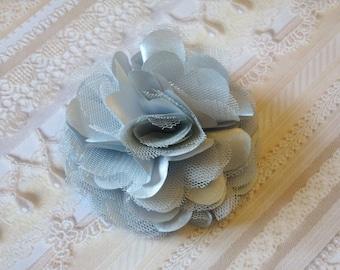 2 pcs - 3'' Satin mesh silk flowers without hair clip wedding bridal bridesmaid brooch flowers - Light Grey