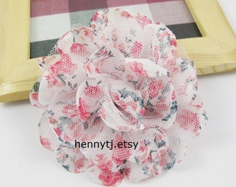 New: Chiffon and Mesh Fabric Flowers Collection - Kelly