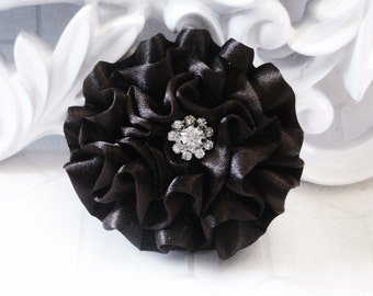 """Giselle Collections - Black 2.5"""" Satin rossette Flower with Rhinestone Center Wedding Bridal Favor Hair Accessory Applique Brooch headband"""