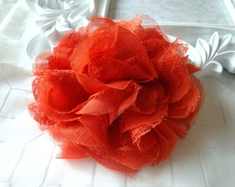 1 pc Large Shabby Chic Frayed Chiffon Mesh and Lace Rose Fabric Flower - Red