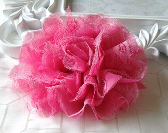 1 pc Large Shabby Chic Frayed Chiffon Mesh and Lace Rose Fabric Flower - Hot Pink