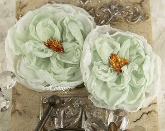 Prima Parfait Collection - Wintergreen PALE Ice Mint Silk fabric flowers