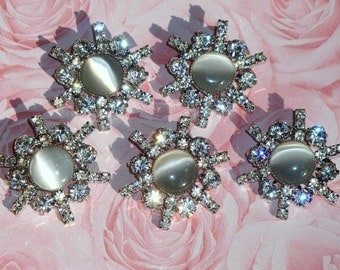 5 pcs- 32mm Silver Metal Snnowflakes Crystal Rhinestone Pearl Buttons with loop - wedding / hair / dress / garment accessories