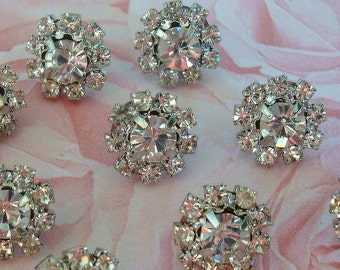 10 pieces - 12mm Silver Metal Mini CLEAR Crystal Rhinestone Buttons - wedding / hair / dress / garment accessories Flower Center