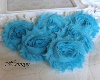 Set of 6 Shabby Frayed Vintage look Chiffon Rosette Flowers - Turquoise