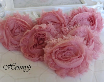 Set of 6 Shabby Frayed Vintage look Chiffon Rosette Flowers - Vintage Pink
