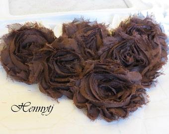Set of 6 Shabby Frayed Vintage look Chiffon Rosette Flowers - Dark Brown Chocolate
