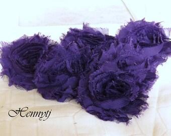 Set of 6 Shabby Frayed Vintage look Chiffon Rosette Flowers - Dark Purple