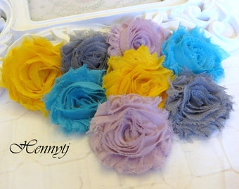 Set of 8 Shabby Frayed Vintage look Chiffon Rosette Flowers - Botanical Colors Applique