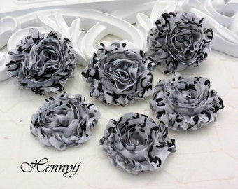 30% OFF Set of 6 Shabby Frayed Vintage look PETITE Chiffon Rosette Flowers - White with Black Swirl