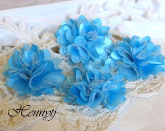 4 pcs - New Tiny Size Petite Satin and Tulle Puff Mesh Flowers without hair clip wedding bridal bridesmaid brooch flowers - Blue