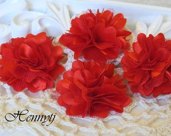 4 pcs - New Tiny Size Petite Satin and Tulle Puff Mesh Flowers without hair clip wedding bridal bridesmaid brooch flowers - Red