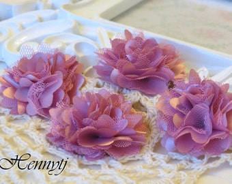 4 pcs - New Tiny Size Petite Satin and Tulle Puff Mesh Flowers without hair clip wedding bridal bridesmaid brooch flowers - Dirty Pink