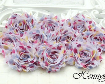 Set of 10 Shabby Frayed Vintage look Chiffon Rosette Flowers -  Fairytale Polka dots