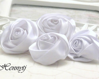 Set of 4 -  50mm Adorable Rolled Satin Rose Rosettes Fabric flowers - WHITE