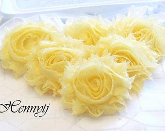 Set of 6 Shabby Frayed Vintage look Chiffon Rosette Flowers - Lighter Yellow