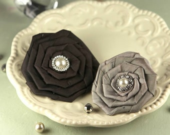 Prima : Coiled Pearls - Victoria Black Grey Rolled Rosette Rose with Pearl center Fabric Flowers