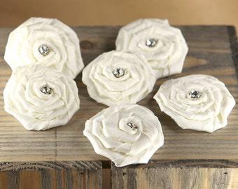 Prima Flowers: Allure - Aurora White Rhinestone Rosette Fabric Flowers