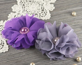 "Prima Flowers: Matriarch ""Melissa"" -Lavender Purple shades 2 pcs Sheer Chiffon Fabric Flowers with Pearl Center"
