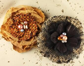 Prima Flowers: Be Charmed -  Townsend Orange Black Canvas Burlap Fabric Flowers