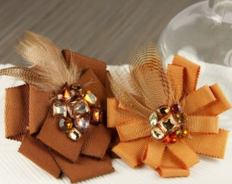 Gemini - Bronze Fabric flowers with feathers and rhinestones