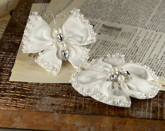 Elegance - Opal White Fabric Flower and White butterfly