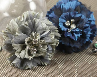 Carlotta - Blue Pearl Silver royal silk fabric flowers