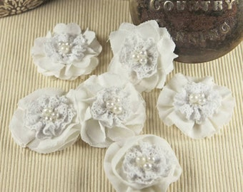 Elysa - White fabric flowers. Cotton fabric flowers in varying styles. Hair accessories, appliques, wedding florals, vintage inspired.