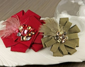 Gemini - parlor Red Olive Green Fabric flowers with feathers and rhinestones perfect for Christmas