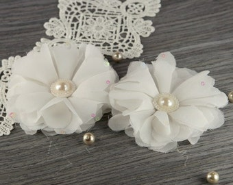 Matriarch Collection: Marilyn - 2 pcs Sheer white Fabric Flowers with Pearl Center