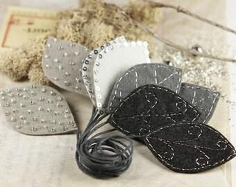 Vermont - Black Grey fabric leaves