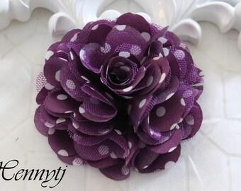 2 pcs- 3'' Satin mesh silk flowers flat back wedding bridal bridesmaid brooch flowers - Purple with white polka dots