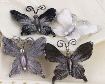 PRIMA Flowers:  Mariposa Butterflies - Ash Black Grey shade. Feather Glittered and Wired Butterflies. DIY Supplies Accessories.