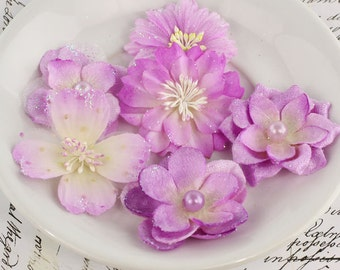 Charlotte Lilac Glittered fabric flowers with varying styles